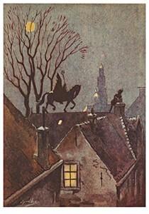 A.N.B. -Sinterklaas rijdt op het dak met zijn paard- Postkaart
