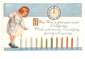 Anonymus -A new year, a glad year, a year of happiness- Postkaart