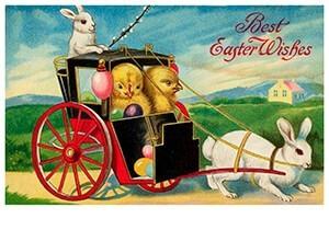 A.N.B. -Twee kuikens in een wagen gereden door paashaasjes- Postkaart