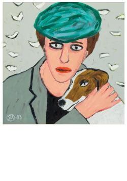 Charlotte Mutsaers (1942) -Vrouw met hond- Postkaart