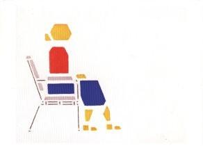 Bart van der Leck (1876-1958) -Vrouw op stoel- Postkaart