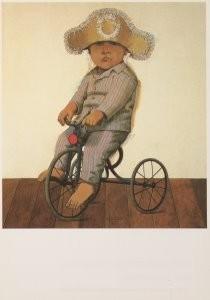 Hermanus Berserik (1921-2002) -Jonge fietser- Postkaart
