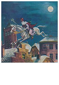 A.N.B. -Sinterklaas maakt een sprong met zijn paard- Postkaart