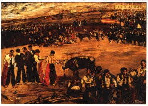 J. Gutierrez-Solana (1886-1945-La plaza- Postkaart