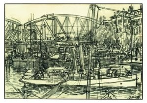 Jan Th.Toorop (1858-1928) -Spoorbrug en huizenr- Postkaart