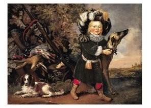 Pieter van Noort (1622/25-1672-Jachtstilleven met kind- Postkaart