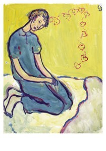 Charlotte Salomon (1917-1943) -Charlotte op haar bed- Postkaart