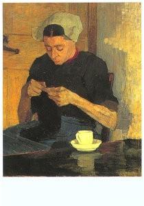 Gijs Bosch Reitz (1860-1938) -Larense boerin met breiwerk, 1892- Postkaart