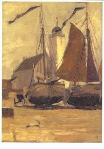 Gijs Bosch Reitz (1860-1938) -Visbommen op het strand voor de kerk in Katwijk, c- Postkaart