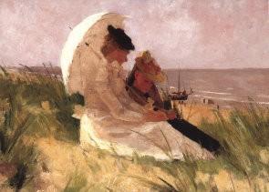 F. Hart Nibbrig (1866-1915) -Op de duinen in Zandvoort- Postkaart