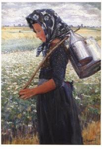 Jo Koster (1868-1944) -Staphorster meisje- Postkaart