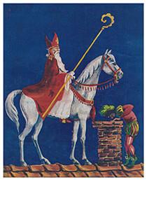 Anonymus -Sinterklaas met zwarte piet op het dak- Postkaart