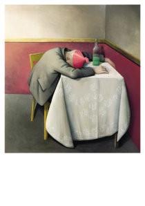 Barend Blankert (1941) -Man het roze feestmuts- Postkaart