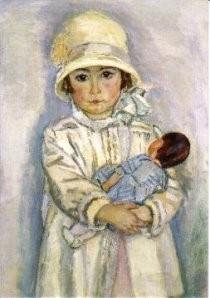 Jan Sluijters (1881-1957) -Meisje met pop (detail)- Postkaart