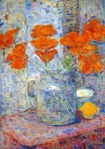 Nico van Rijn (1887-1962) -Boeket in een vaas (detail)- Postkaart