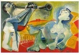 Pablo Picasso (1881-1973) -Nu Couche et Joueur- Postkaart