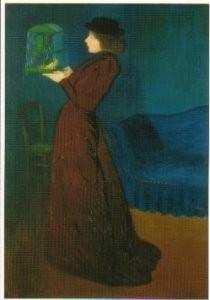 Jozsef Rippl-Ronai (1861-1927)-Vrouw met vogelkooi- Postkaart