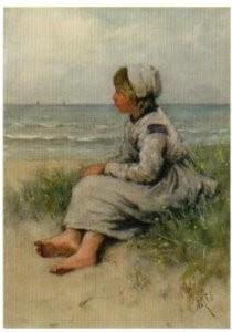 David A.C. Artz (1837-1890) -Meisje uitkijkend zee- Postkaart