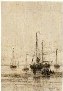 Hendrik W. Mesdag (1831-1915) -Schepen bij strand- Postkaart