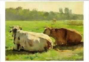 Jules Dupre (1851-1910) -Koeien in een weide- Postkaart