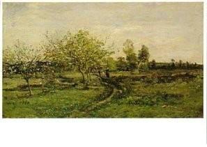 Daubigny (1817-1878) -Pommiers en fleurs- Postkaart