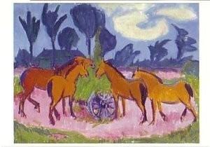 Jan Altink (1885-1971) -Landschap met paarden, circa 1925- Postkaart