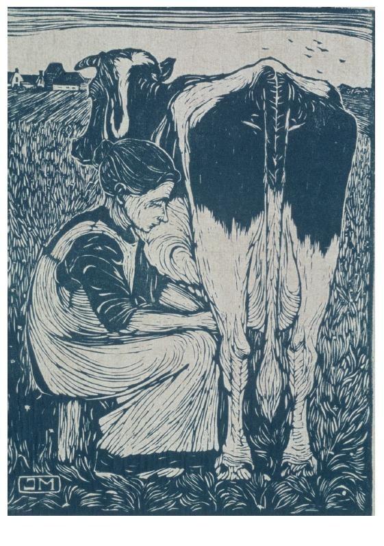 Jan Mankes (1889-1920) -Koemelkster- Postkaart