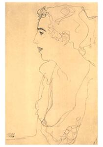 Gustav Klimt (1862-1918) -Female portrait in profil heading left- Postkaart