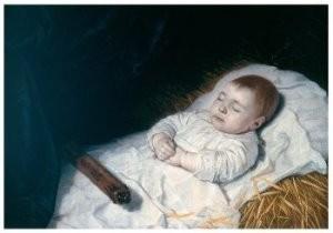 B. v. d. Helst (1613-1670) -Jongetje op zijn doodsbed- Postkaart