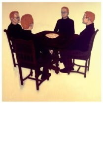 Harry van der Woud (1963) -Seance met eierschaal - seance with egg-bowl, 2004- Postkaart