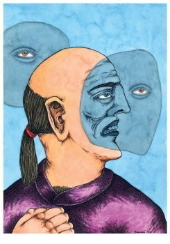 Brecht (1953-2010) -Oude hippie ziet zichzelf tweemaal grijs- Postkaart