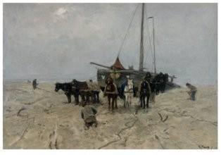 Anton Mauve (1838-1888) -Bomschuit op het strand, 1882- Postkaart
