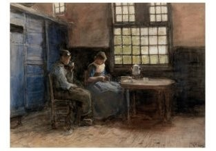 Anton Mauve (1838-1888) -Namiddagpauze- Postkaart