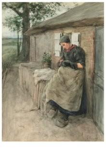 Anton Mauve (1838-1888) -Voor haar huisje (Bij de boerenwoning), 1884- Postkaart