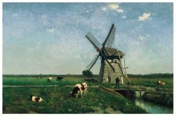 Johannes Hendrik Weissenbruch -Landschap met molen bij Schiedam, 1873- Postkaart