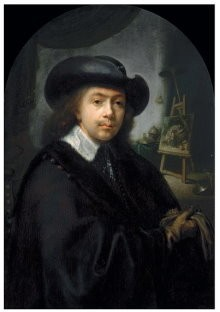 Gerrit Dou (1613-1675) -Self portrait- Postkaart