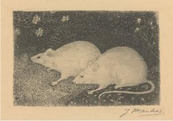 Jan Mankes (1889-1920) -Twee muizen- Postkaart