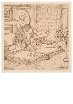 Jan Th.Toorop (1858-1928) -Charley plaatjes kijkend, 1898- Postkaart