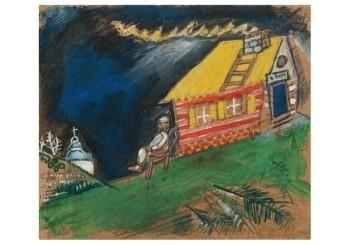 Marc Chagall (1887-1985) -Devant la maison au toit jaune, 1911-1912- Postkaart