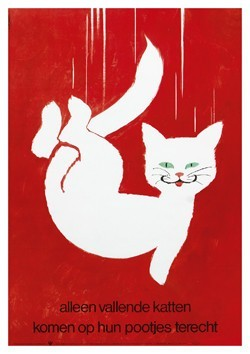 Frans Mettes (1909-1984) -Alleen vallende katten komen op hun pootjes terech- Postkaart