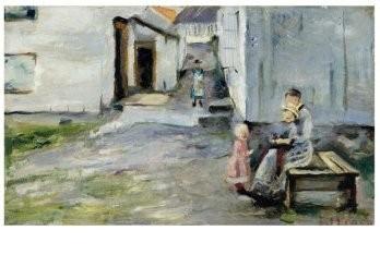 Edvard Munch (1863-1944) -Vrouw en kinderen in Arendal, 1886- Postkaart
