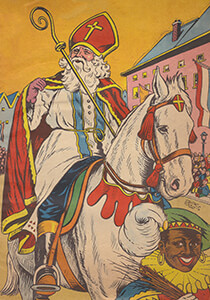 Anonymus -Sinterklaas en zwarte piet gaan door de straat- Postkaart