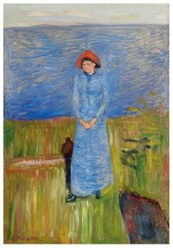 Edvard Munch (1863-1944) -Vrouw met rode hoed bij de fjord- Postkaart