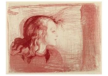 Edvard Munch (1863-1944) -Het zieke kind 1 (in rose en rood), 1896- Postkaart