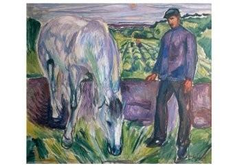 Edvard Munch (1863-1944) -Man met paard, 1918- Postkaart