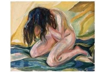 Edvard Munch (1863-1944) -Huilend naakt 1914-1919- Postkaart