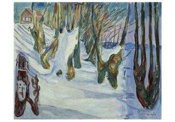 Edvard Munch (1863-1944) -Bomen zich aftekenend tegen de sneeuw, 1923- Postkaart