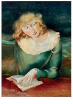 Rudolf Schmidt (1894-1992) -Lezend meisje, ca. 1930- Postkaart