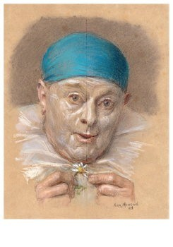 Armand Francois Joseph Henrion-Zelfportret als pierrot - Self-portrait as pierrot- Postkaart