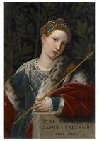 Il Moretto da Brescia1498-1554-Portret van een vrouw als Salomé,ca.1537- Postkaart
